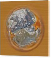 Bubble Out Of Orange Orb Wood Print
