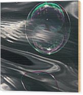 Bubble Over Black Waters Wood Print