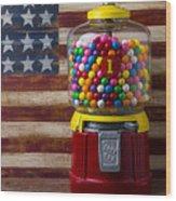 Bubblegum Machine And American Flag Wood Print