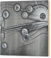 Bubbles In Grey Wood Print
