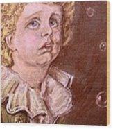 Bubbles Pastel Portrait Wood Print