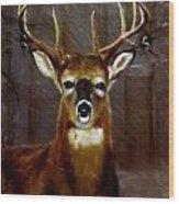 Buck On Slate  Wood Print