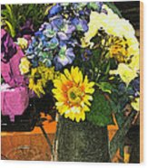 Bucket Of Flowers Wood Print