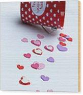 Bucket Of Hearts Wood Print