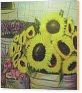 Bucket Of Sunflowers Wood Print