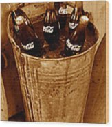 Bucket Of Iced Cold Coca Cola Wood Print