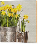 Buckets Of Daffodils Wood Print