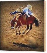 Bucking Broncos Rodeo Time Wood Print