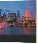 Buckingham Fountain Light Show Wood Print