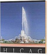 Buckingham Fountain Panorama Poster Wood Print