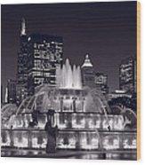 Buckingham Fountain Panorama Wood Print