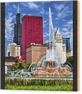 Buckingham Fountain Sears Tower Poster Wood Print
