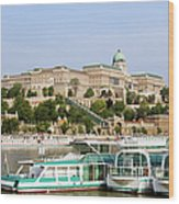 Buda Castle And Boats On Danube River Wood Print