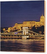 Buda Castle And Chain Bridge Wood Print