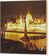 Budapest At Night Wood Print by Gregory Dyer
