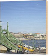 Budapest Cityscape And Liberty Bridge Wood Print