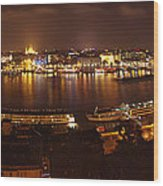 Budapest Night Panorama  Wood Print