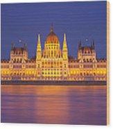 Budapest Parliament At Night Wood Print