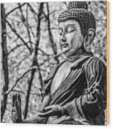 Buddha - Siddhartha Gautama - In Black And White Wood Print