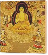 Buddha And Fairies Wood Print