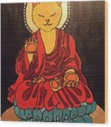 Buddha Cat Asian  Wood Print