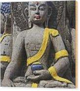 Buddha Figure In Kathmandu Nepal Wood Print
