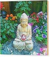 Backyard Buddha Wood Print