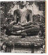 Buddha In Meditation Statue Wood Print