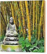 Buddha In The Bamboo Forest Wood Print
