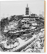 Buddha - Jiming Temple In The Snow - Black-and-white Version  Wood Print by Dean Harte