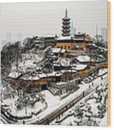 Buddha - Jiming Temple In The Snow - Colour Version  Wood Print