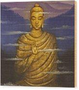 Buddha. Passing Clouds Wood Print by Vrindavan Das