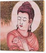 Buddha Red  Wood Print by Loganathan E