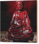 Buddha Statue Figurine Wood Print by Olivier Le Queinec