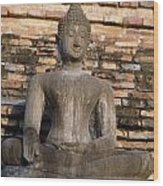 Buddha Statue Outside Thai Temple Wood Print
