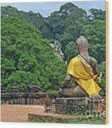 Buddha Statue Wearing A Yellow Sash Wood Print