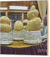 Buddha Figures With Thick Layer Of Gold Leaf In Phaung Daw U Pagoda Myanmar Wood Print