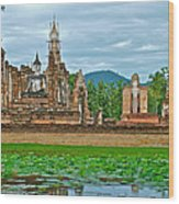 Buddhas At Wat Mahathat In 13th Century Sukhothai Historical Park-thailand Wood Print