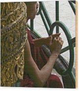 Buddhist Monk Leaning Against A Pillar Sule Pagoda Central Yangon Myanar Wood Print