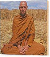 Buddhist Monk Meditating Wood Print by David Parker and SPL