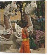 Buddhist Monk Thailand 3 Wood Print
