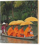 Buddhist Monks In Mekong River Wood Print by Dung Ma