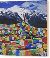 Buddhist Prayer Flags With Meili Wood Print
