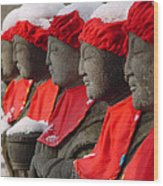 Buddhist Statues In Snow Wood Print