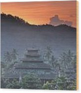 Buddhist Temple At Sunset Wood Print