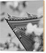 Buddhist Temple In Black And White - Roof Tile Details Wood Print