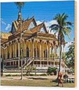 Buddhist Temple In Kratje - Cambodia Wood Print