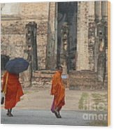 Buddist Monks Visiting Sukhothia Wood Print