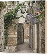 Budva Old Town Cobbled Street In Montenegro Wood Print