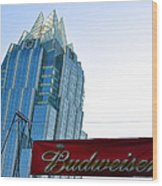 Budweiser And Building  Wood Print